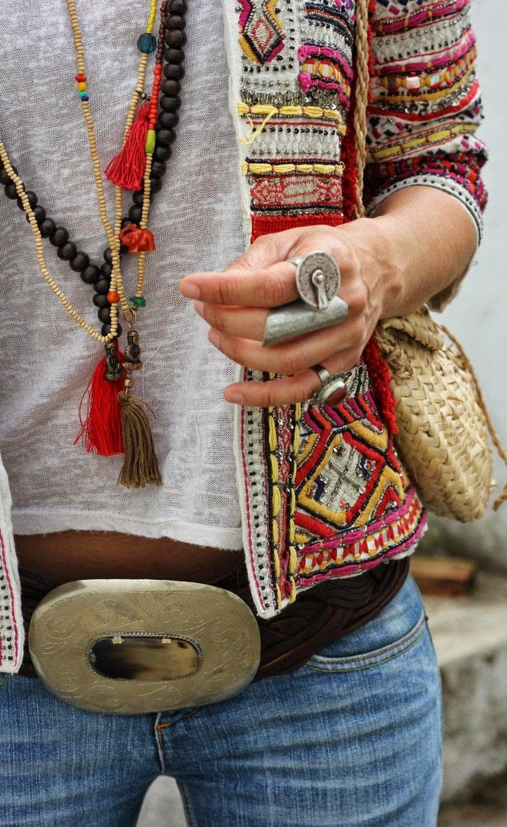 bohemian style jacket and jewelry