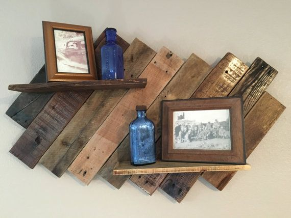 Reclaimed rustic pallet double shelf/ Wall Shelf by MixedImages