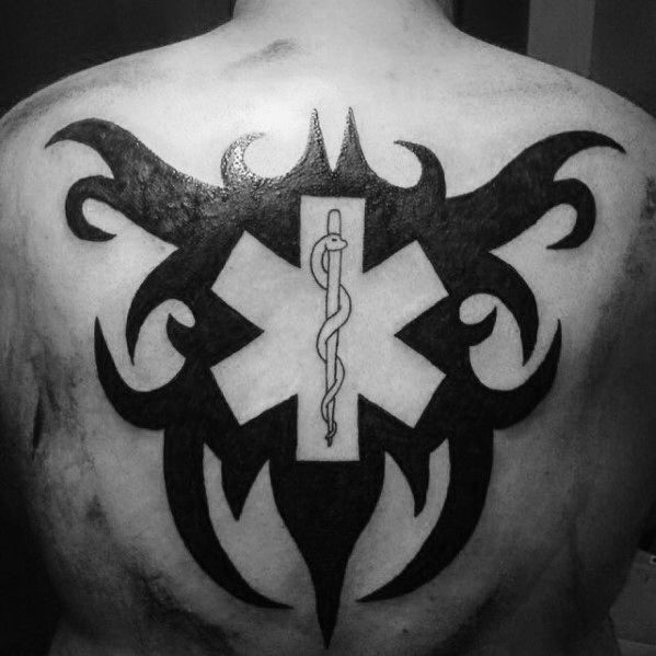 Masculine Star Of Life Negative Space Guys Tribal Back Tattoos