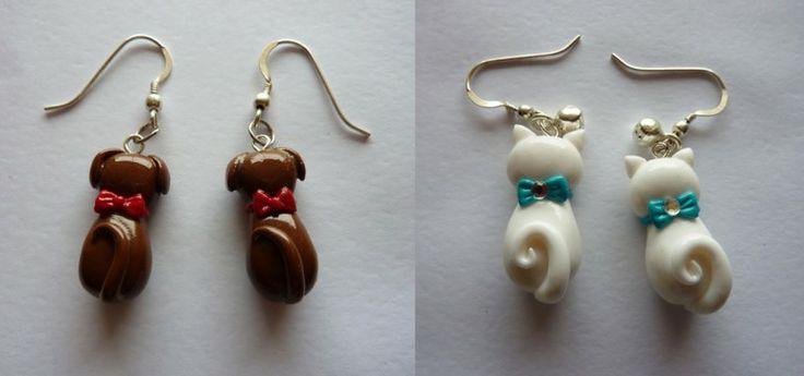 Orecchini cane gatto in fimo fatti a mano - Dogs and cats earrings in fimo polymer clay handmade