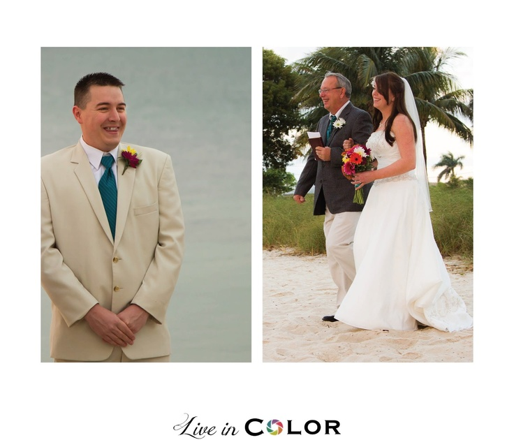 The grooms first reaction to the seeing the bride - Live in Color: Kris & Kinderly's Sunrise Beach Wedding