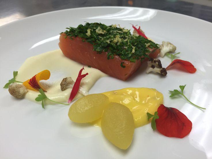 Confit akaroa salmon, parsley crust, cauliflower, saffron, pear  GF
