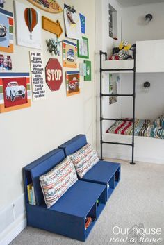 Plywood DIY kids chair with storage. Step by step instructions shared. Perfect for a kids bedroom or playroom. See the other 12 plywood projects shared within the DIY challenge!