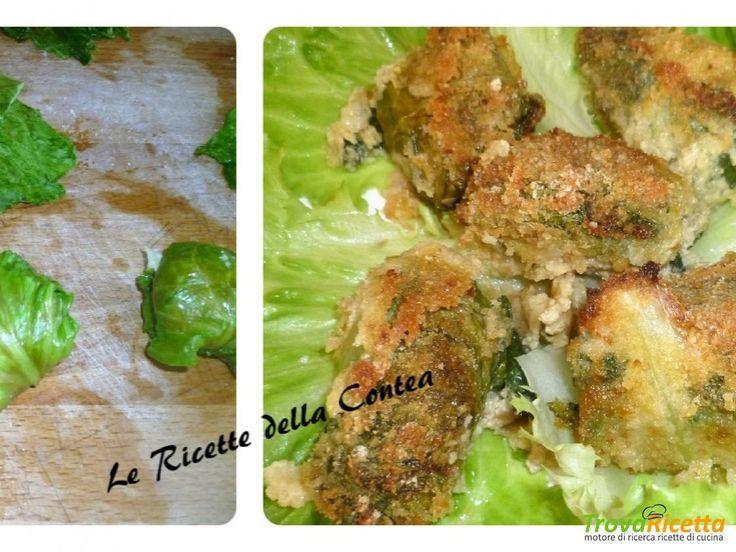 Involtini di lattuga con polpette ripiene di mozzarella  #ricette #food #recipes