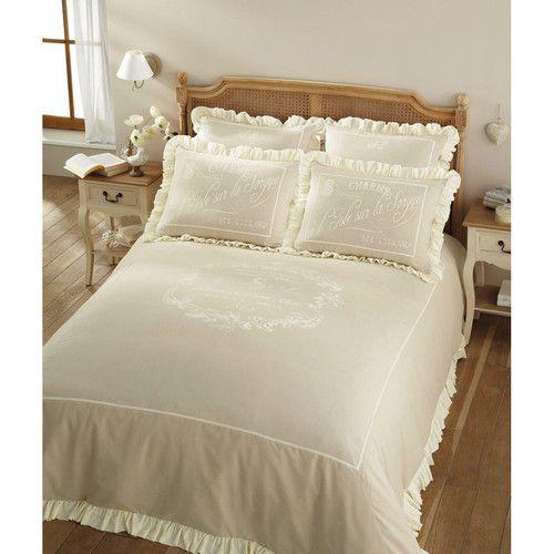 Parure de lit 220 x 240 cm en coton beige SORGUE