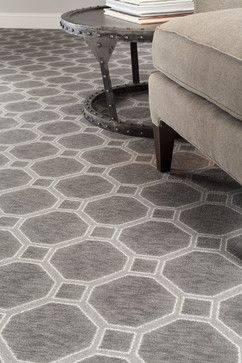 Milliken Delicate Frame Printed Stainmaster Carpet In Smoked Silver.  Contemporary Custom Sized Rug.