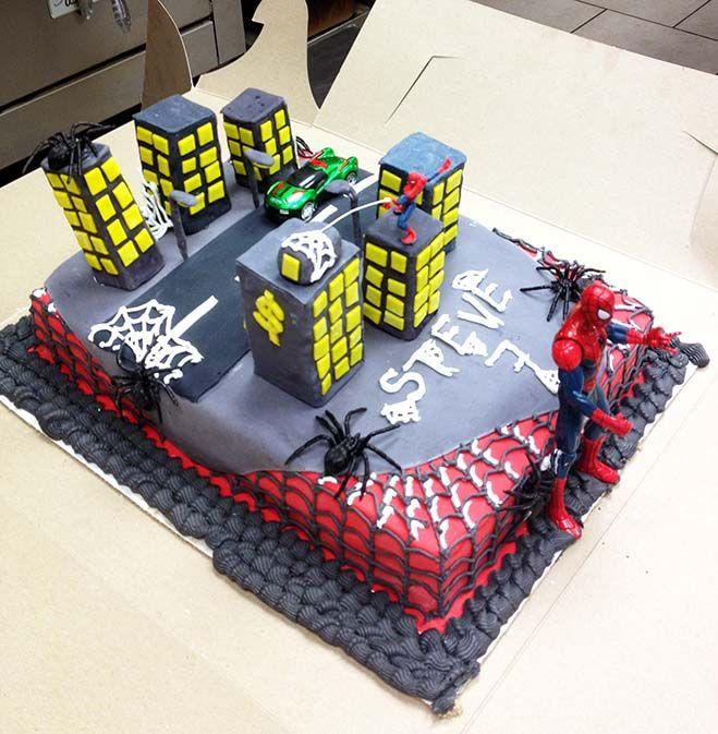 - SpiderMan birthday cake