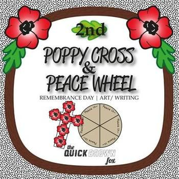 2nd Grade Remembrance Day Poppy Cross & Peace Wheel - Art