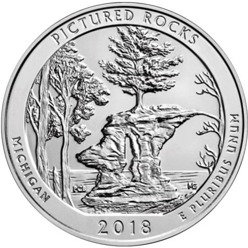 2018 - 5 oz. Silver America the Beautiful Bullion Coin - Pictured Rocks - Michigan - reverse side   Reverse: depicts Chapel Rock and the white pine tree that grows on top of it