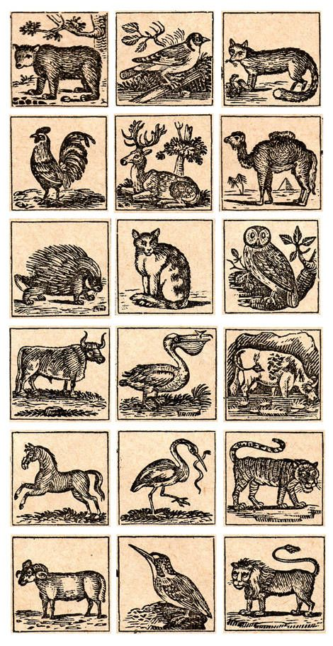 Animal woodcuts and printable book plates