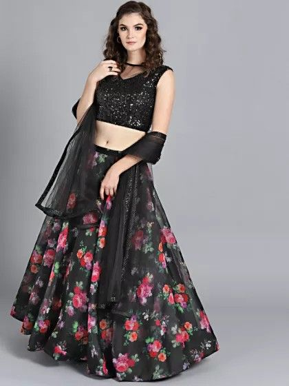 813a881a82 Black Lehenga With pink floral Desgins And Shiny choli With dupata 😀😀😀