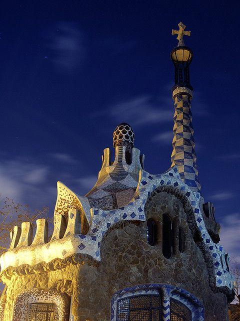 Park Güell at night, Barcelona