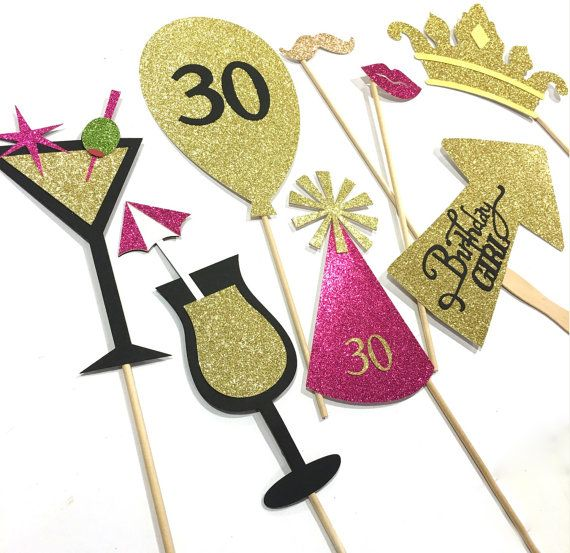 30th Birthday Party Props Photo booth by GreatCrafternoon on Etsy