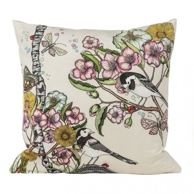 Wagtails spring off-white cushion cover  by Scandinavian designer Nadja Wedin - Nordic Design Collective