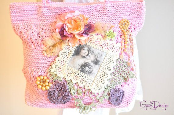 Romantic crochet purse pink lace handbag pink crochet by GyaDesign