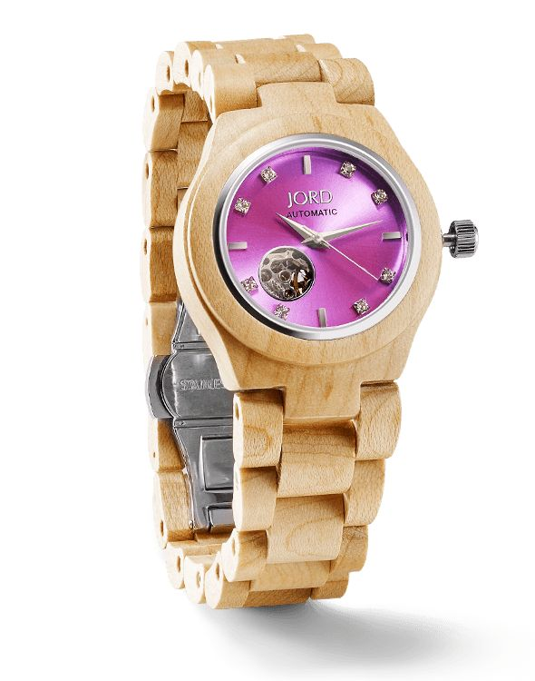 Jord Cora series Maple & Lavender by Best Wood Watches (source: best-wood-watches.com)