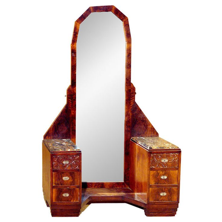 French Art Deco Vanity France 1925   This stunning French Art Deco vanity from the 1920s features a full mirror flanked by three drawers on either side each topped with highly figured marble.