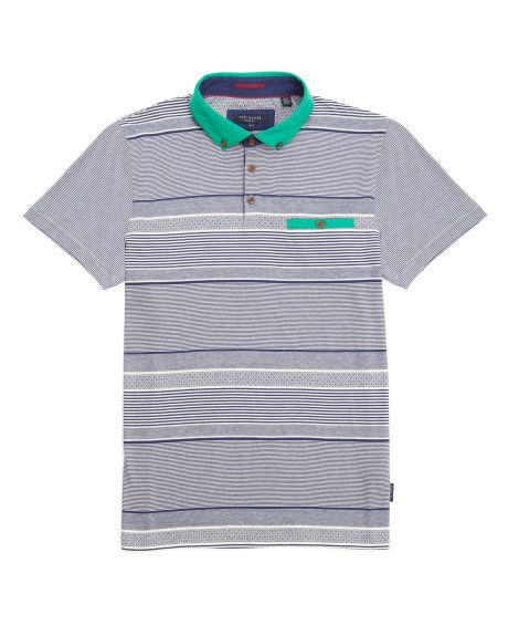 Striped polo shirt - Navy | Tops & T-shirts | Ted Baker