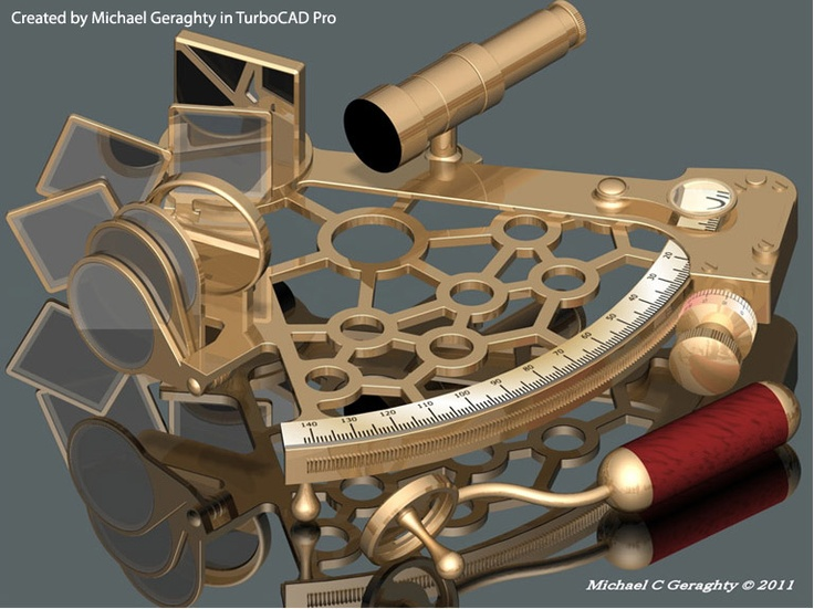 Computer Aided Design: Sextant created by Michael Geraghty in TurboCAD Pro.