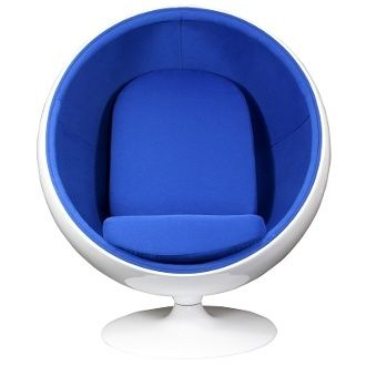 Eero Arnio Style Ball Chair in White Shell and Blue Interior