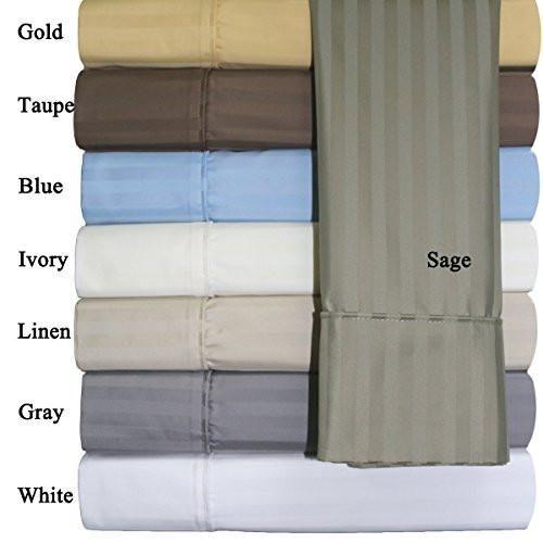 Split-King: Adjustable King Size (Gray Striped) Cotton-Blend Wrinkle-Free Sheets 650-Thread-Count Sheet Set