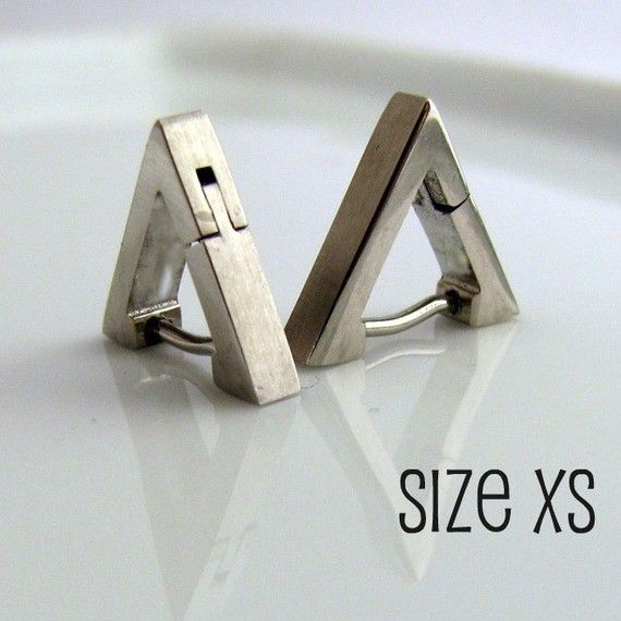 Men's Earrings Silver Hoop - Ear Cartilage or Nose Ring - Triangle Earrings for Men - Stainless Steel (XS 12mm) (no.212)
