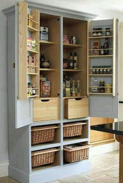 Turn an armoire into a free standing kitchen cabinet/pantry. (For the basement and add a mini fridge)