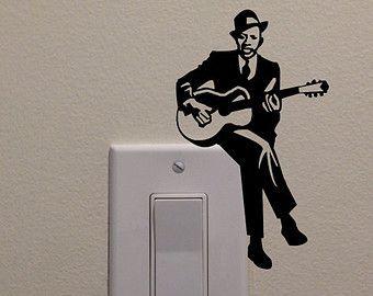 """Jazz, guitarrista de los azul en el interruptor de la luz (5 """"x 3"""") - dormitorio Casa Decor etiqueta"""