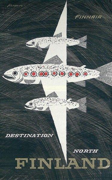 design-is-fine:  Erik Bruun, advertising poster Destination North, 1958. Finnair.  Frequent Fish