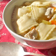 Chicken Ravioli Soup -- $1.50 per serving  A meal in a bowl, the dish is an ideal choice to leave on the stove for the babysitter to serve the kids when mom and dad are out splurging on date night.