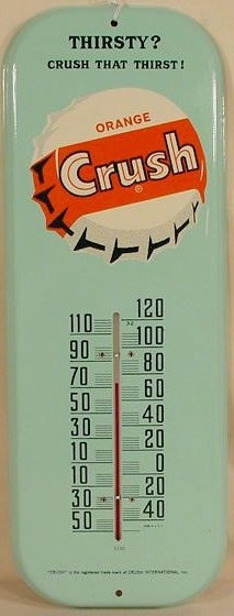 "Vintage Orange Crush thermometer  ""Crush that Throat"""