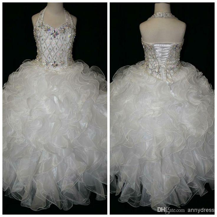 $130 Wholesale Flower Girl Dress - Buy Lovely Beaded Halter Top Little Girls Pageant Gowns White Floor Length Formal Long Junior Pageant Dresses ...