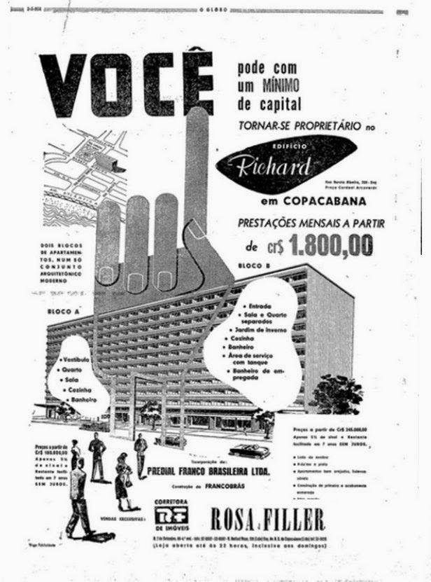 """ANÚNCIO DE 1954 -  Quem adquiriu um dos mais de 500 apartamentos (são 45 por andar !), no """"conjunto arquitetônico moderno"""", acabou abrigado num endereço que se tornaria recorrente na crônica policial da cidade."""