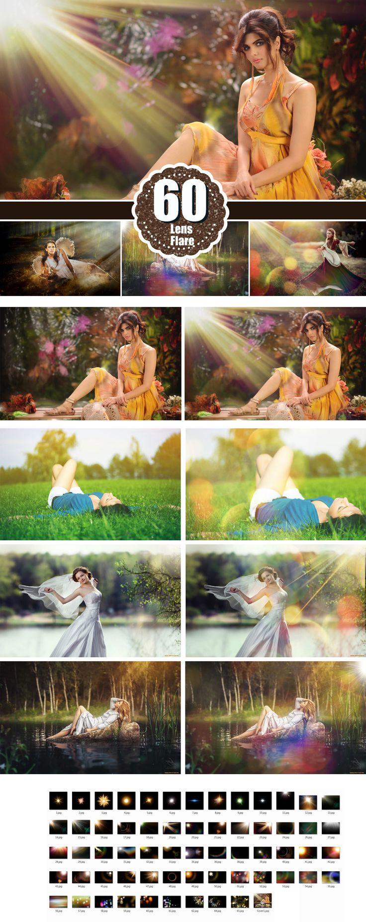 Natural Sun Light Photoshop Overlays, Fairy Glow Effect, Sun Rays, Sun Lens Flare, Sun beams and streaks,
