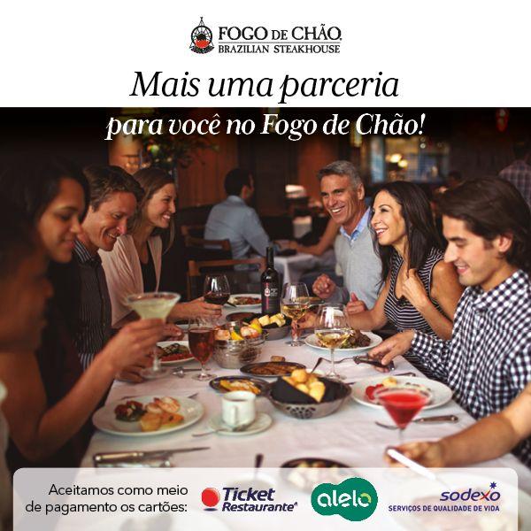Os cartões Ticket Restaurante e Alelo Refeição agora fazem parte dos nosso meios de pagamento. Além do já conhecido Sodexo Refeição.  Aproveite esta facilidade e prove o menu Fogo Fourmet, deguste de nosso especialíssimo cardápio BAR FOGO, além de nosso já famoso rodízio. Essa é mais uma facilidade que o Fogo de Chão oferece pra você. Esperamos por sua visita! #fogodechãobrasília #cartões #facilidade
