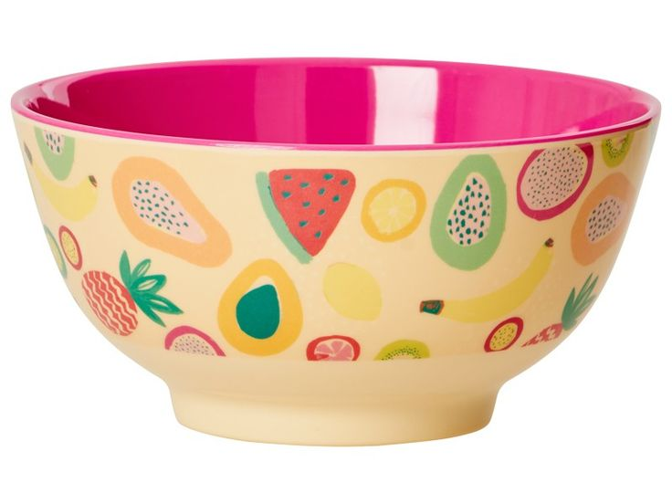 RICE melamine bowl tutti frutti print. The stable two tone melamine bowl from RICE Denmark has a red coloured inner. Size: 15  x 8 cm.
