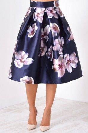 Sheryl Floral Print Skirt in Navy
