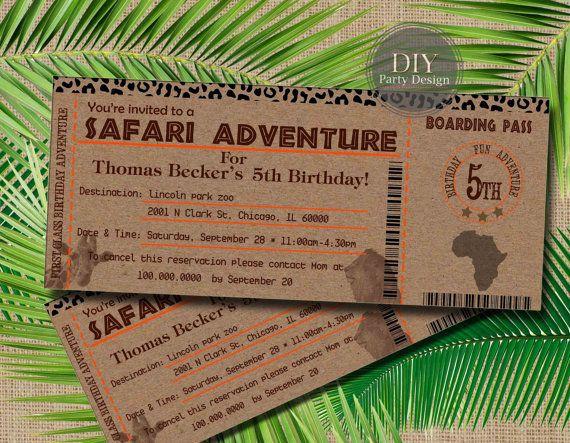 Safari Ticket Birthday Invitation Baby Shower by DIYPartyDesign