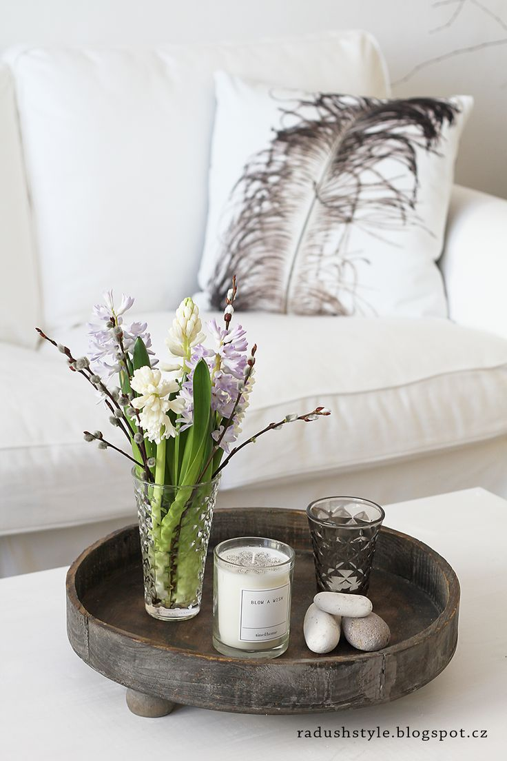 spring is coming at my home - Bloomingville feather cushion at Radana´s