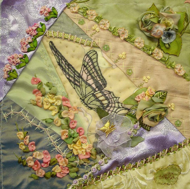 I ❤ crazy quilting . . . Lynnis' completed block- I love the hollyhocks made with Lynnis' hand-dyed ribbons. Her silk ribbon embroidery is beautiful. ~By Barbara B.