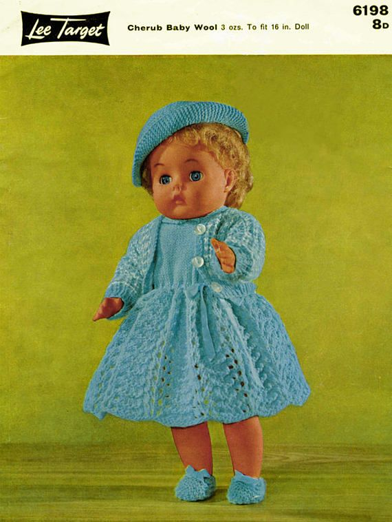 PDF Vintage 1950s Doll Clothes Knitting Pattern Lee Target