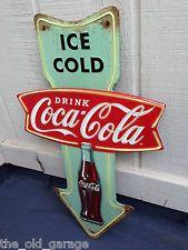 VINTAGE LOOK Drink Ice Cold Coca Cola Metal Embossed Sign 24