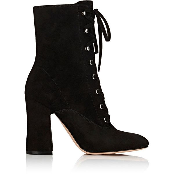 Gianvito Rossi Women's Mackay Suede Ankle Boots ($1,245) ❤ liked on Polyvore featuring shoes, boots, ankle booties, bota, ankle boots, black, black booties, black suede boots, lace up booties and black high heel boots