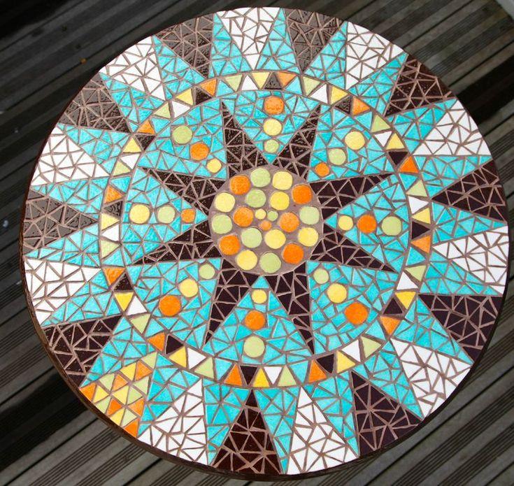 """Ensemble table et chaises de jardin en mosaïque """" Turquoise """" - Anouk Mosaic- Mosaïque d'art"""
