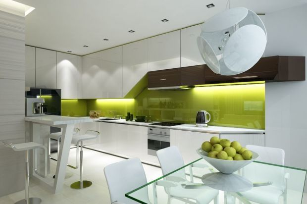 Бело-зеленый дизайн кухни.    White and green kitchen design.
