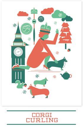 Awesome Corgi Curling Christmas Cards