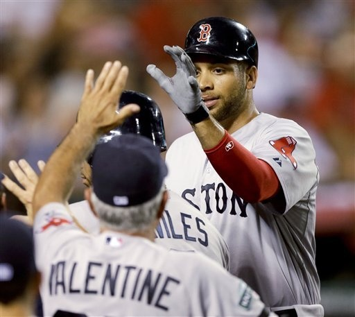 Boston Red Soxu0027s James Loney, Right, Is Greeted In The Dugout By Manager Bobby  Valentine After Scoring On A Sacrifice Fly By Mike Aviles Against The Los  ...