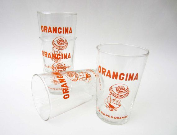 1970s French vintage ORANGINA glassorange by LeFrenchBazaar