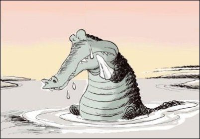 "The phrase ""crocodile tears"" is believed to have originated from an ancient anecdote that crocodile weep in order to lure their prey. It is also believed that the phrase came from the anecdote that crocodiles cry from the prey they eat. The phrase refers to the hypocritical show of emotion by crying fake tears."