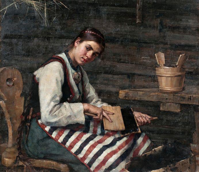 Maria Wiik (1853-1928): 'Girl carding Wool', 1883. Folkdräkt from Rattvik, province of Dalarna, Sweden